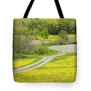 Spring Farm Landscape With Dandelion Bloom In Maine Tote Bag