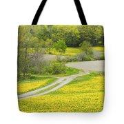 Spring Farm Landscape With Dandelion Bloom In Maine Tote Bag