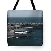 Underway Replenishment At Sea With U.s Tote Bag