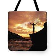 Yoga At Sunrise Tote Bag