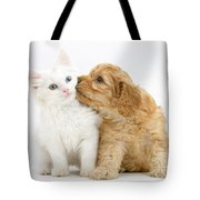 Kitten And Puppy Tote Bag