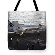 An Fa-18e Super Hornet During Flight Tote Bag