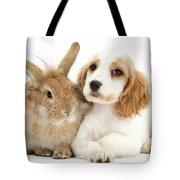 Cocker Spaniel And Rabbit Tote Bag