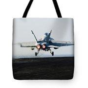 An Fa-18f Super Hornet Launches Tote Bag