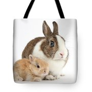 Rabbit And Baby Bunny Tote Bag