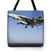 An Fa-18f Super Hornet During Flight Tote Bag
