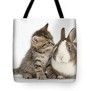 Kitten And Rabbit Tote Bag
