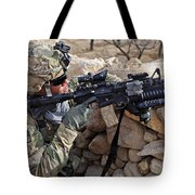 U.s. Army Soldier Provides Security Tote Bag
