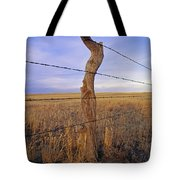 A Barbed Wire Fence Stretches Tote Bag