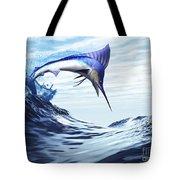 A Beautiful Blue Marlin Bursts Tote Bag