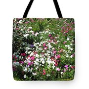 A Bed Of Beautiful Different Color Flowers Tote Bag