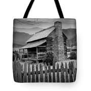 A Black And White Photograph Of An Appalachian Mountain Cabin Tote Bag