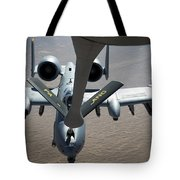 A Boom Operator Refuels An A-10 Tote Bag by Stocktrek Images