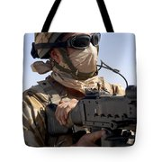 A British Army Soldier Mans A Machine Tote Bag