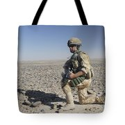 A British Army Soldier On A Foot Patrol Tote Bag