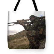 A British Soldier Armed With A Sniper Tote Bag