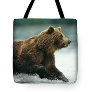 A Brown Bear Rushing Through Water Tote Bag