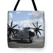 A C-2a Greyhound Taxis On The Flight Tote Bag