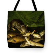 A Cat With Trout Perch And Carp On A Ledge Tote Bag