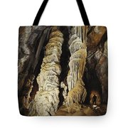 A Caver Is Dwarfed By Giant Calcite Tote Bag