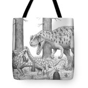 A Ceratosaurus Chasing Young Tote Bag