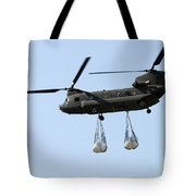 A Ch-47 Chinook Carrying Sandbags Tote Bag