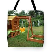 A Childs Playing Equipment In A Green Location Tote Bag