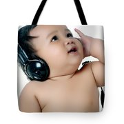 A Chubby Little Girl Listen To Music With Headphones Tote Bag