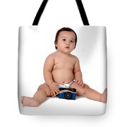 A Chubby Little Girl Sit With A Vintage Camera  Tote Bag