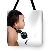 A Chubby Little Girl With Headphones Tote Bag