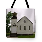 A Church In Water Tower Town Tote Bag