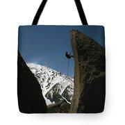 A Climber Rappels Off Grandma Boulder Tote Bag