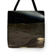A Comet Passes Over The Surface Tote Bag by Ron Miller