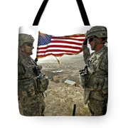 A Commander Re-enlists Master Sergeant Tote Bag