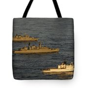 A Convoy Of Naval Ships Move Tote Bag