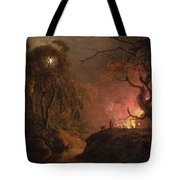 A Cottage On Fire At Night Tote Bag