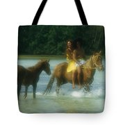 A Couple Rides A Horse In A Shallow Tote Bag