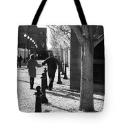 A Couple Walking Together Holding Hands Downtown Asheville Tote Bag