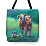 A Cow And Her Calf Tote Bag