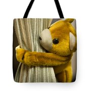 A Curtain With A Cute Stuffed Toy Tote Bag