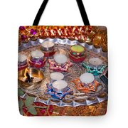 A Decorated Hindu Prayer Thaali With Wax Candles Oil Lamps Tote Bag