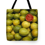 A Display Of Guavas In An Open Air Tote Bag