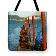 A Dock Of Sea Lions Tote Bag by Jeff Swan
