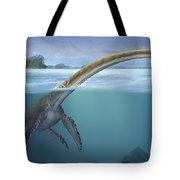 A Elasmosaurus Platyurus Swims Freely Tote Bag