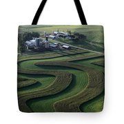 A Farm With Curved And Twisting Fields Tote Bag