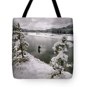 A Fisherman Tries His Luck Tote Bag