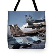 A Flight Of Aggressor F-15 And F-16 Tote Bag