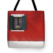 A Flower Pot Sits In A Window With Tote Bag