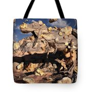 A Fossilized T. Rex Bursts To Life Tote Bag