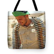 A Free Libyan Army Soldier With An Tote Bag